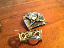 Elegant Square Multicolored Stone Small Blue Crystals Gold Tone Scarf Pendant image 5