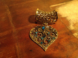Elegant Blue Crystals Heart Shaped Gold Tone Scarf Pendant by Magic Scarf image 2