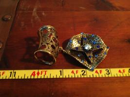 Elegant Square Multicolored Stone Small Blue Crystals Gold Tone Scarf Pendant image 6