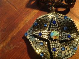 Elegant Square Multicolored Stone Small Blue Crystals Gold Tone Scarf Pendant image 3