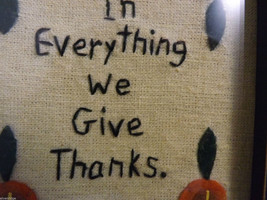 "Embroidered ""In Everything We Give Thanks"" Home Wall Decor Hand Stitched image 3"