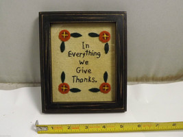 "Embroidered ""In Everything We Give Thanks"" Home Wall Decor Hand Stitched image 2"
