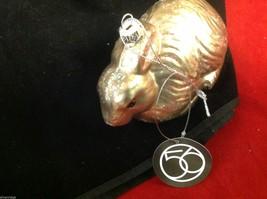 Dept 56  glass shiny golden brown rabbit wi glitter vintage look hang  ornament image 4