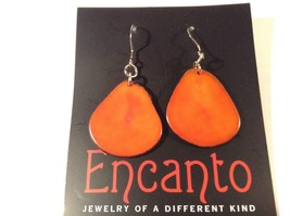 Encanto Jewelry of a Different Kind Orange Dangling Tagua Homemade Earrings image 2