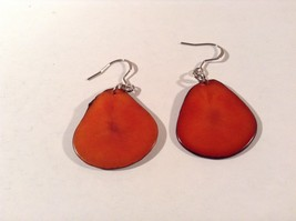 Encanto Jewelry of a Different Kind Orange Dangling Tagua Homemade Earrings image 3