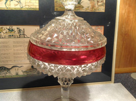 Diamond Pointed Lid Tall Glass Decorative Candy Dish 12 Inches High image 4