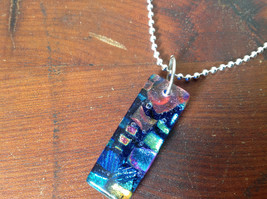 Dichroic Glass Pendant Necklace Silver Plated Chain Dark Blue Many Colors image 5