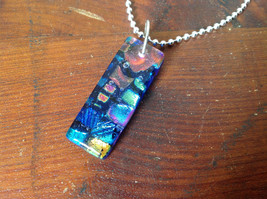 Dichroic Glass Pendant Necklace Silver Plated Chain Dark Blue Many Colors image 4
