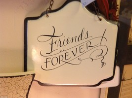 Enameled Sign white with black letters Friends Forever with small heart image 2