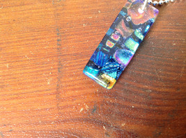 Dichroic Glass Pendant Necklace Silver Plated Chain Dark Blue Many Colors image 6