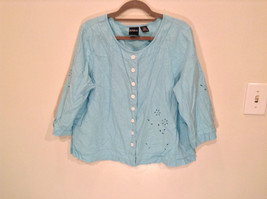 Erika Size Large Turquoise 2 pc set linen casual Cut Out Flower filigree image 4