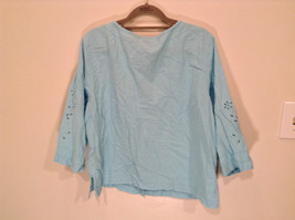 Erika Size Large Turquoise 2 pc set linen casual Cut Out Flower filigree image 5
