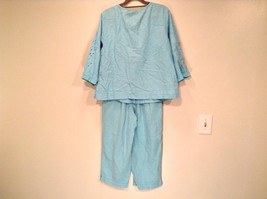 Erika Size Large Turquoise 2 pc set linen casual Cut Out Flower filigree image 3