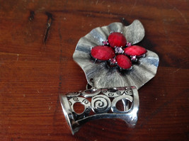 Eye Catching Silver Tone Scarf Pendant with Red Stones and Crystals Leaf Shaped image 5