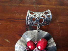 Eye Catching Silver Tone Scarf Pendant with Red Stones and Crystals Leaf Shaped image 3