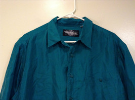 Direct Hit Short Sleeve Teal 100 Percent Silk Button Front Blouse Size Large image 3