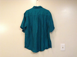 Direct Hit Short Sleeve Teal 100 Percent Silk Button Front Blouse Size Large image 2