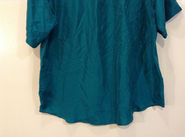 Direct Hit Short Sleeve Teal 100 Percent Silk Button Front Blouse Size Large image 6