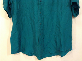 Direct Hit Short Sleeve Teal 100 Percent Silk Button Front Blouse Size Large image 4