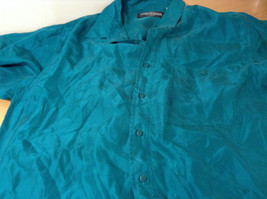 Direct Hit Short Sleeve Teal 100 Percent Silk Button Front Blouse Size Large image 8