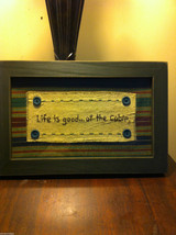 Distressed look new stitchery Life is Good at the Cabin framed under glass