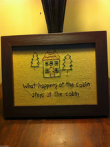 Distressed look new stitchery What happens at the cabin stays at the cabin image 4