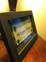 Distressed look new stitchery Life is Good at the Cabin framed under glass image 3