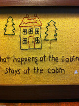 Distressed look new stitchery What happens at the cabin stays at the cabin image 3