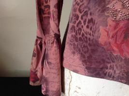 Dressbarn Fancy V Neck Long Sleeve Fancy Top Flowers Writing Fake Gems Size PM image 5