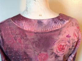 Dressbarn Fancy V Neck Long Sleeve Fancy Top Flowers Writing Fake Gems Size PM image 8