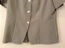 Dressbarn Green Gray Short Sleeve V Neck Top Button Up Front Size 12 image 4
