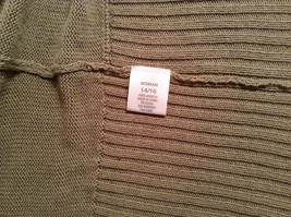 Dressbarn Short Sleeve Knitted Olive Green Open Front Sweater Sizes 14 to 16 image 8