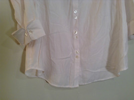 Dressbarn White Button Up Front Shirt Three Quarter Length Sleeves Size 14 to 16 image 4