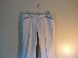 Doncaster Size 10P White Pinstriped Casual Dress Pants Front and Back Pockets image 2