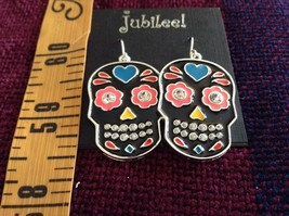 Fashion earrings Day of the Dead Candy Skull with Crystals choice of color image 4