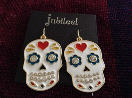 Fashion earrings Day of the Dead Candy Skull with Crystals choice of color image 5