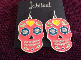 Fashion earrings Day of the Dead Candy Skull with Crystals choice of color image 6