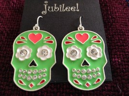 Fashion earrings Day of the Dead Candy Skull with Crystals choice of color image 7
