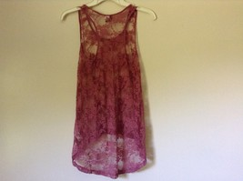 Dusty Rose See Through Tank Top Flower Design Divided by H and M Size 2 image 4