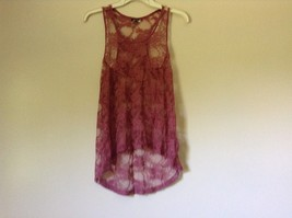 Dusty Rose See Through Tank Top Flower Design Divided by H and M Size 2 image 2