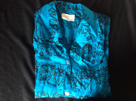 E Spirit Bright Teal Blue Short Sleeve Button Down Shirt with Collar Size S image 6