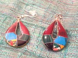 Earrings Artisanal Silver with inlay teardrop turquoise Carnelian Onyx  image 3