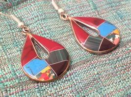 Earrings Artisanal Silver with inlay teardrop turquoise Carnelian Onyx  image 8