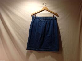 Eddie Bauer Jean 100% Cotton Medium Blue Wash Knee length Skirt, Size 14 Tall image 4