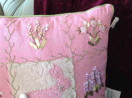 Easter Spring Bunny Rabbit Pink Pillow with Ornaments Great for Spring Fever image 3