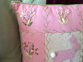 Easter Spring Bunny Rabbit Pink Pillow with Ornaments Great for Spring Fever image 4