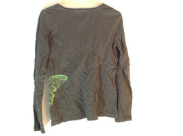 Eddie Bauer Long Sleeve Shirt Brown with Green Butterfly Graphic Size Small image 4