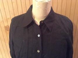 Edward Irish Linen Black 100 Percent Linen Button Down Shirt Size Small image 2