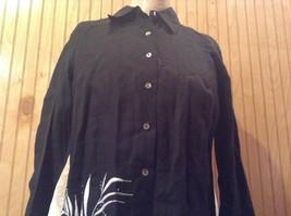 Edward Irish Linen Black 100 Percent Linen Button Down Shirt Size Small image 4