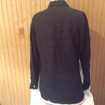 Edward Irish Linen Black 100 Percent Linen Button Down Shirt Size Small image 5